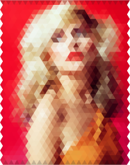 Debbie Harry image encoded with hexagon segments